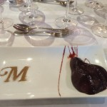 Pear poached in Selección Especial, with a cinnamon M, for Muga!